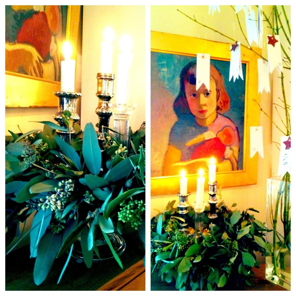 Kranz aus Olive und Eukalyptus auf Etagere an 24-Liebesbotschafts-Adventskalender-für-den-Liebsten. Gnihihi...