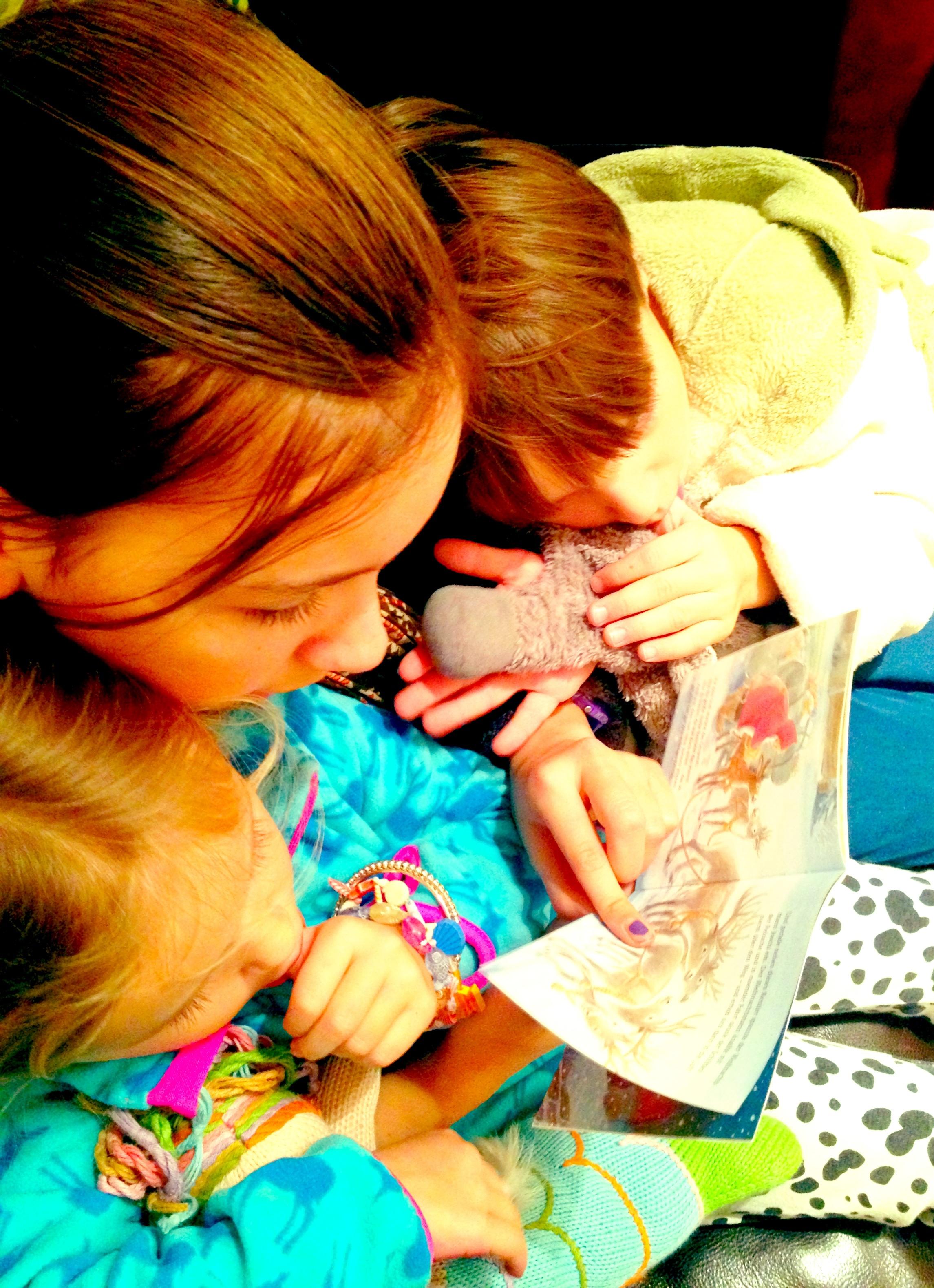 Mein Herzensmädchen hat sich nach dem Abendessen mit den Schlafanzugmäusen aufs Sofa gekuschelt und ihnen ein Weihnachtsbüchlein vorgelesen. Glück!