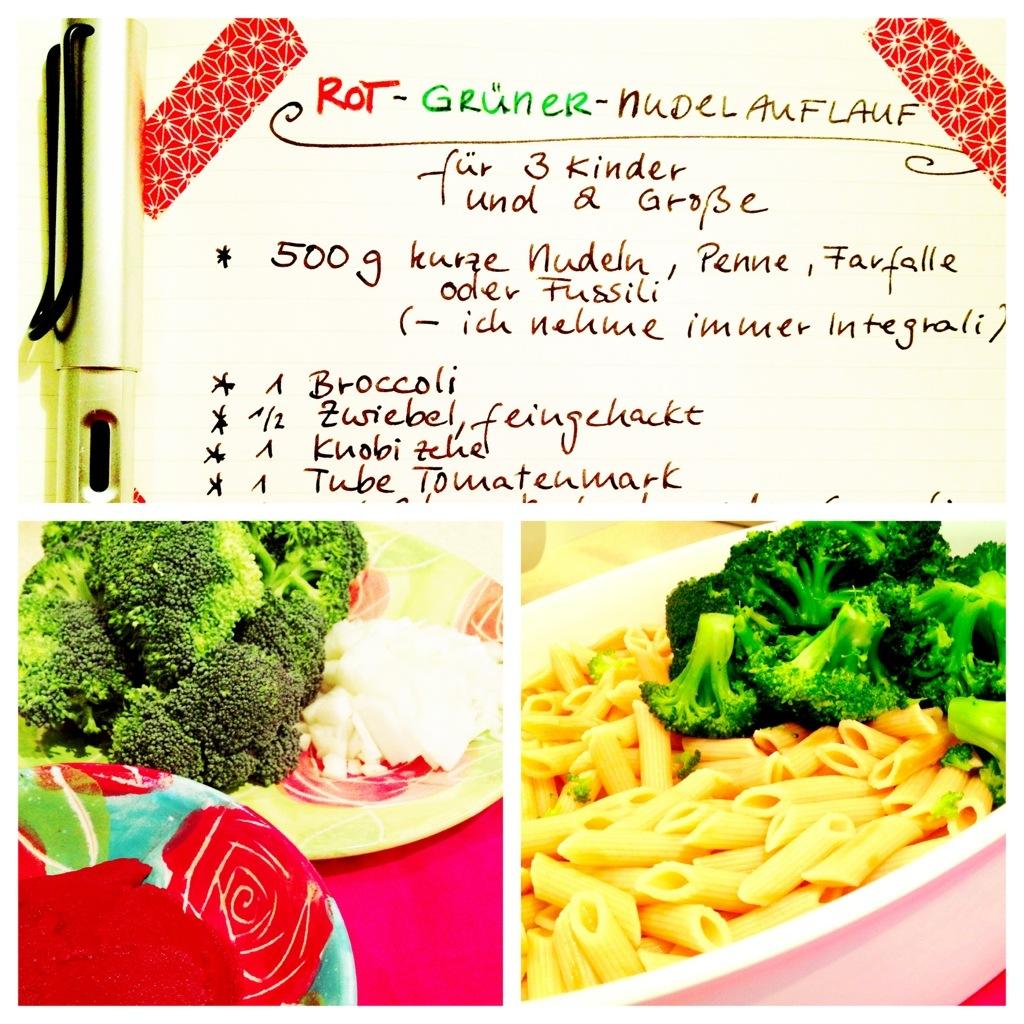Kinder-Wunschessen: Rot-gruener-Nudelauflauf mit Broccoli