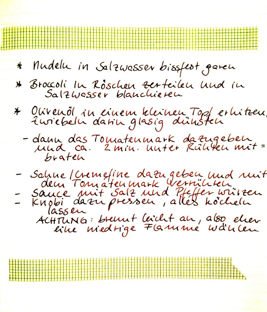 Rezept Rot-grüner Nudelauflauf: Procedere