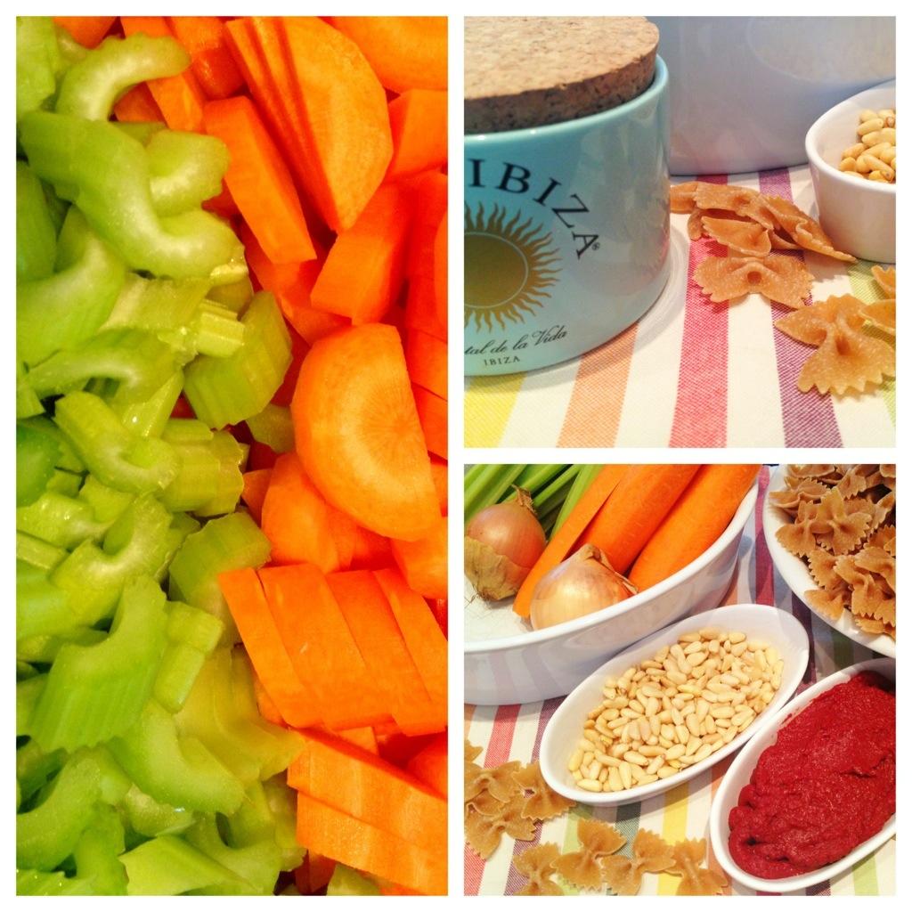 Die Zutaten schön angerichtet. Ich liebe die Farbkombi von Orange und Grün (auch wenn man das im fertigen Gericht so schön nicht mehr sehen kann..)