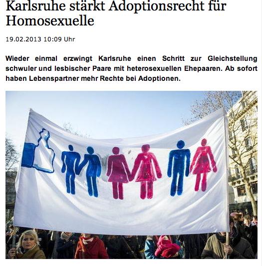 Bundesverfassungsgericht stärkt das Adoptionsrecht für homosexuelle Paare (Bildquelle: HAZ.de)