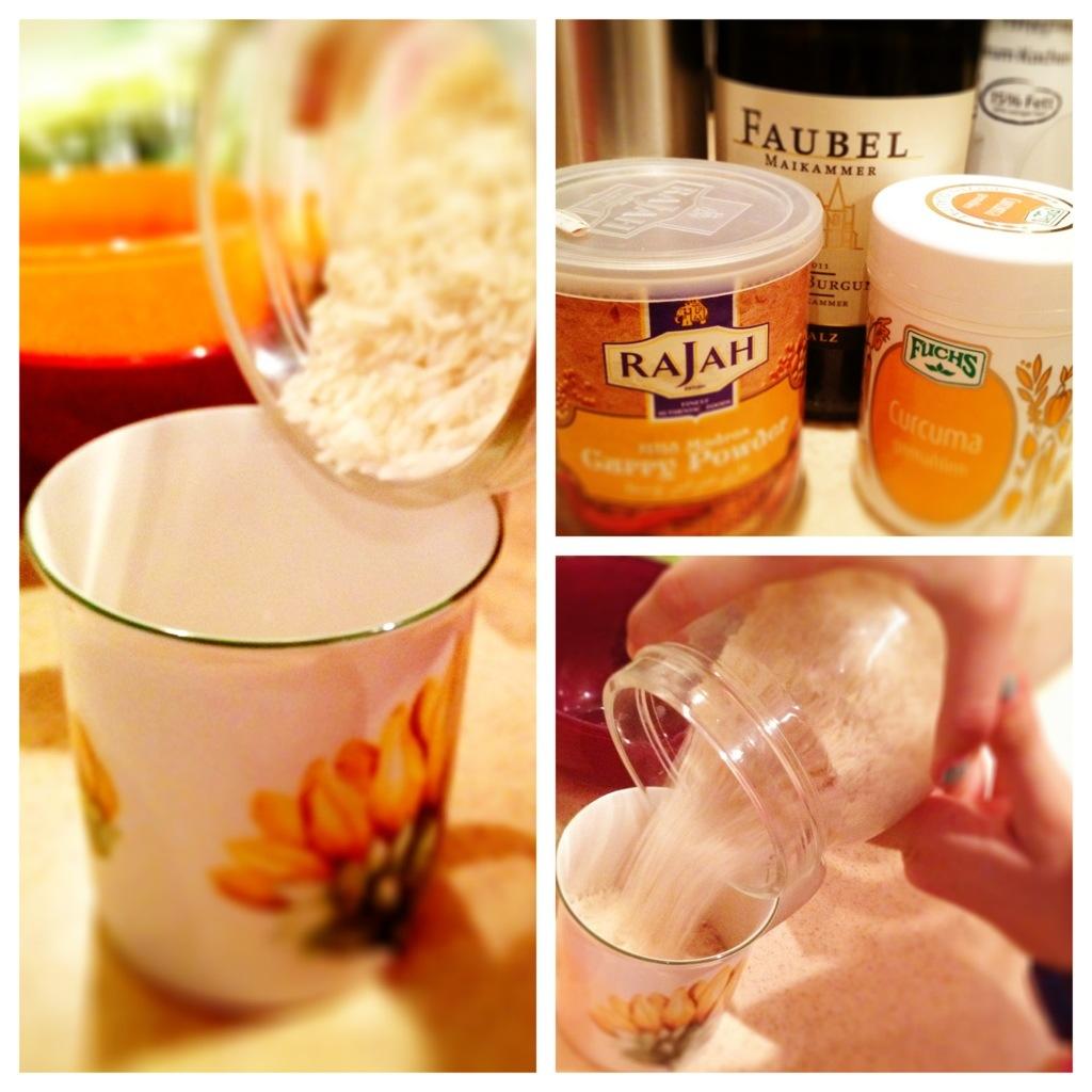 Ein paar notwendige und leckere Zutaten. Und das Herzensmädchen beim Reis-Abmessen.