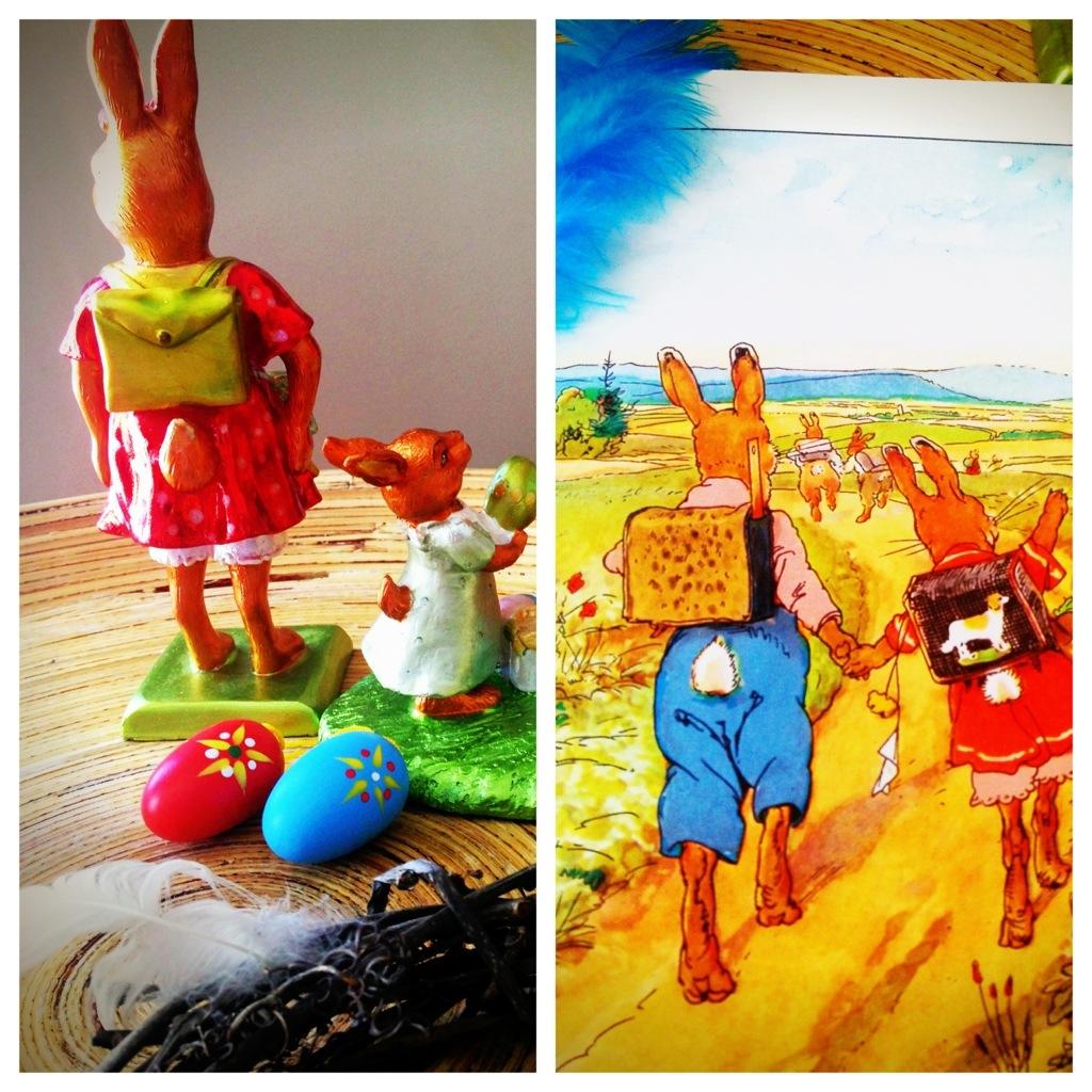 """""""Hasenhans und Hasengretchen gehen lustig Pfot in Pfötchen.... """" Hasengretchen mit Schulranzen im Bilderbuch und als Figur."""