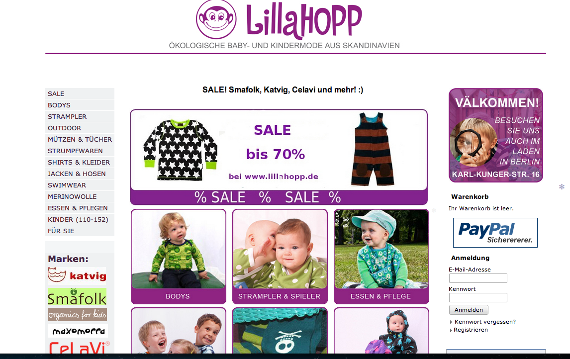 Startseite des süßen Onlineshops von LILLAHOPP