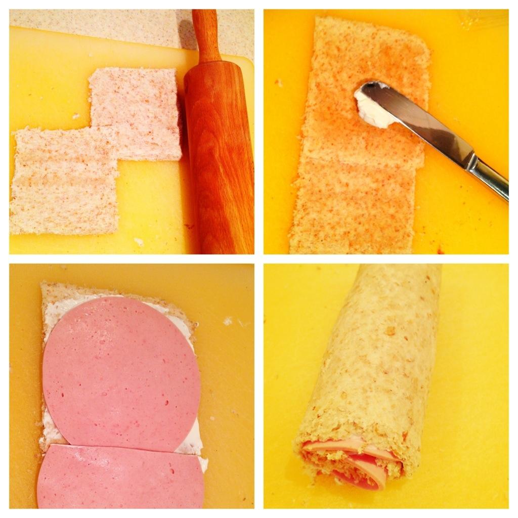 Sandwich-Sushi-Rolls in the making!