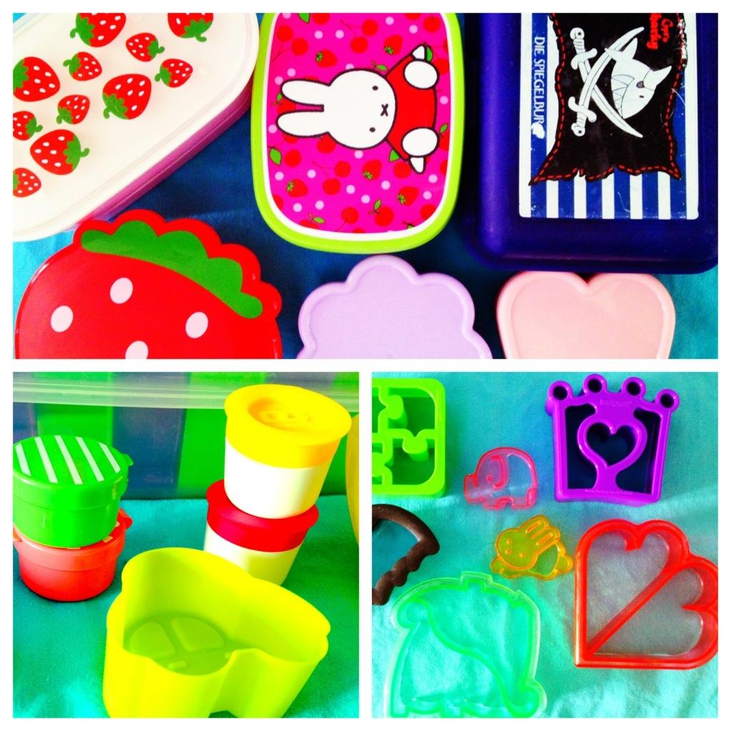 Bento-Equipment: ein Teil unserer Brotdosen, ein Teil der Sandwichcutter, ein Teil der Silikonförmchen und Minidosensets