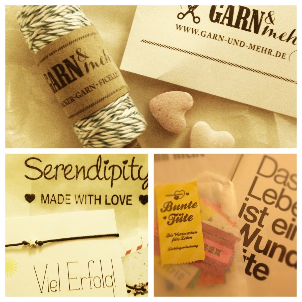 Goodiebag Inhalte: Papierwaren, Billets, Armband, Postkarten, Moustache