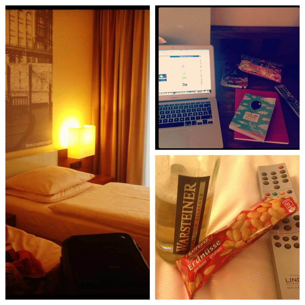 Hotelzimmerimpressionen Bier Nüsse, Fernbedienung, aufgeklapptes Macbook