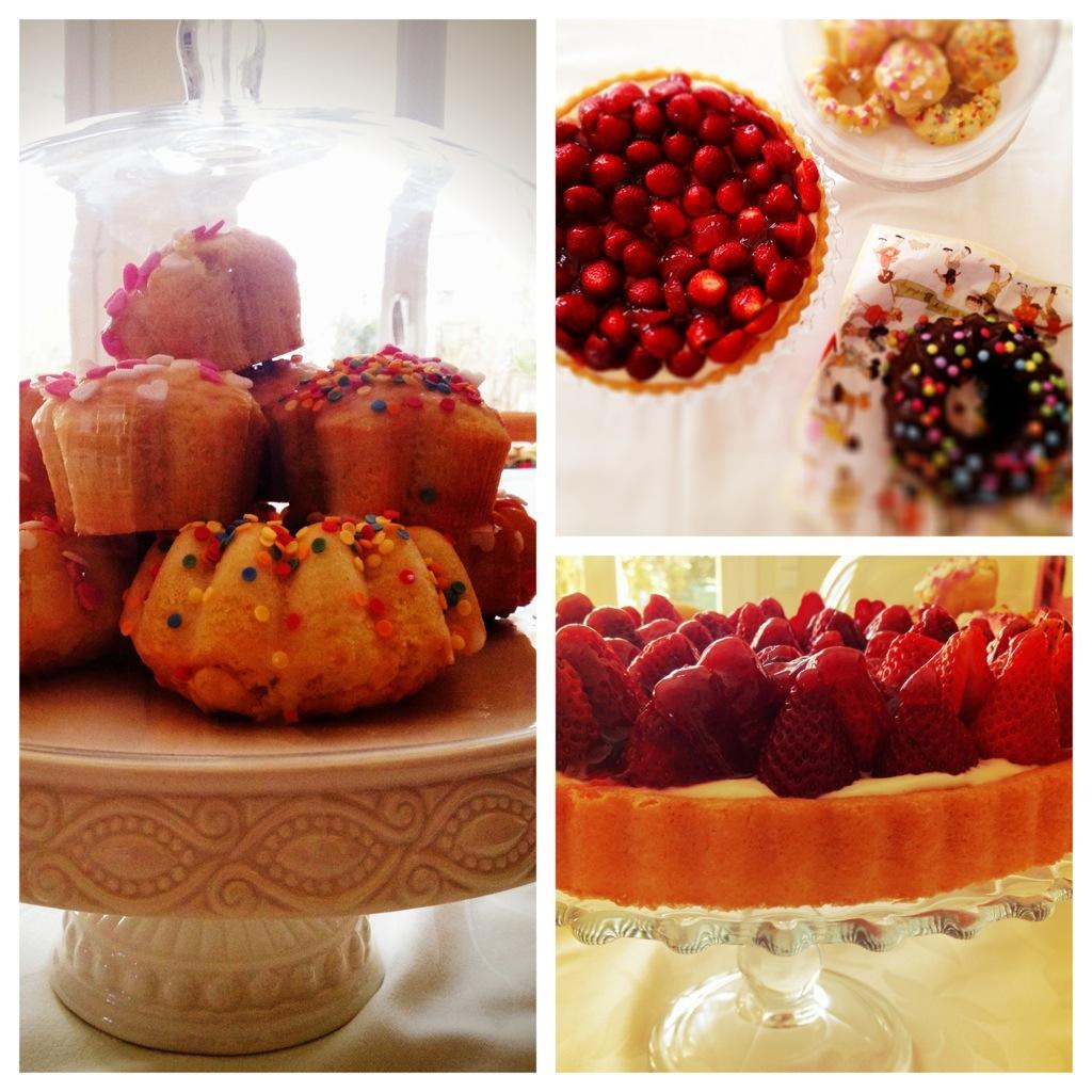 Geburtstagskuchen, Erdbeerkuchen, Muffins, Minigugl in einer Collage