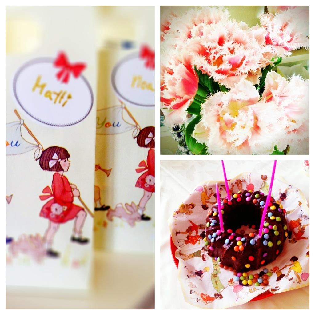Collage: Tulpen, Mitgebtüten, Schokoladenkuchen