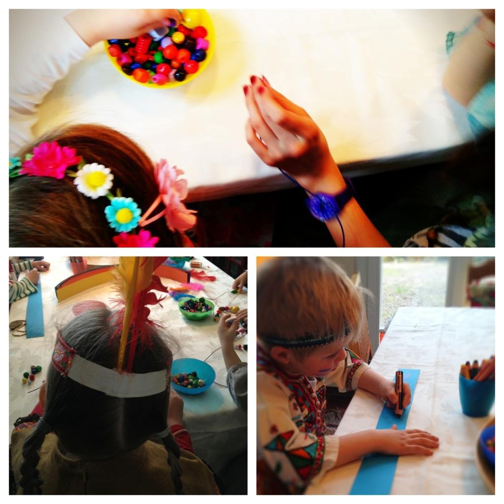 Collage: Indianerschmuck basteln, Ketten auffädeln, Kopfschmuck aus Tonpapier gestalten