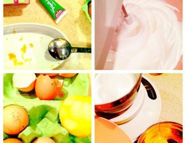 Collage, Backvorgang, Eier, Eiweiß, Lebensmittelfarbe