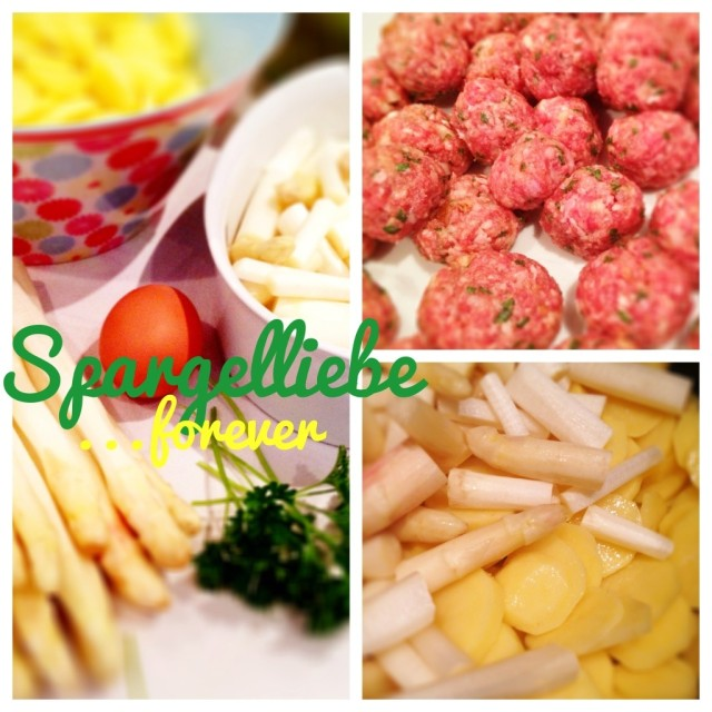 Collage, Spargeleintopf Zutaten, Spargel, fertige Mettklößchen, Kräuter, Kartoffeln