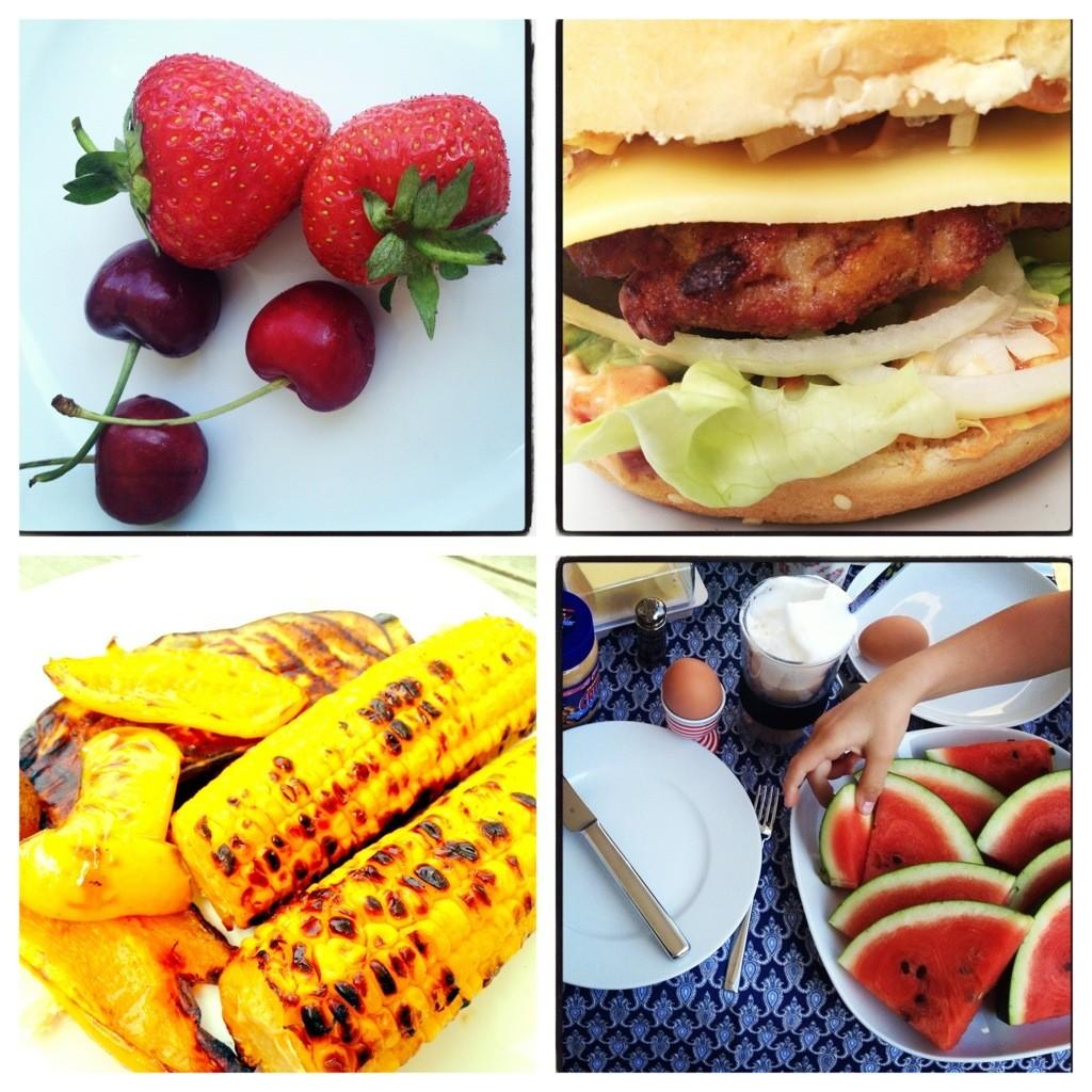 Gemischtes Wochenendfutter: rotes Obst und BBQ