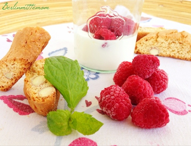 Himbeer Trifle im Glas, Cantucci, Dessert, Rezept
