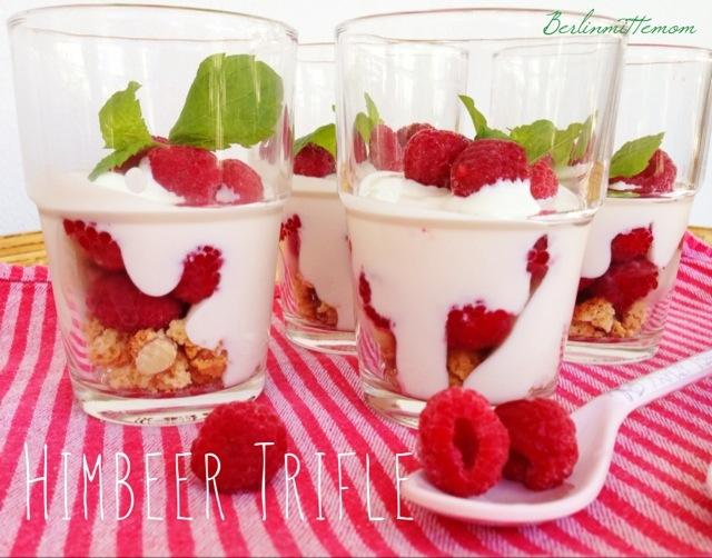 Himbeer Trifle im Glas, Dessert, Nachtisch, Mini Dessert, leichter Nachtisch, Rezept