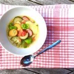 Minestrone mit Pesto, Suppe, Sommersuppe, Rezept, Familienrezept, Kochen für Kinder, Essen mit Kindern, Gemüseküche, Rezept